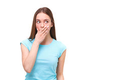 Portrait of young surprised woman isolated on white. Royalty Free Stock Photography