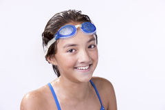 Portrait of young swimmer. A close up portrait of a young female swimmer Stock Photography