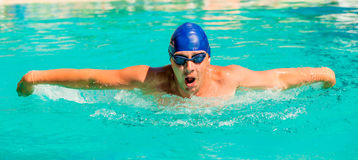 Portrait of  young swimmer going in for sports Stock Images