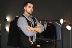 Portrait of young tailor. In atelier Stock Photography