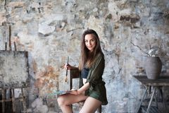 Portrait of young talented female artist. Art, creativeness concept. Art woman stock image