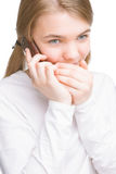 Portrait of young teenage girl keeping secret Royalty Free Stock Photos