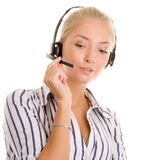 Portrait of young telephone operator Royalty Free Stock Photos