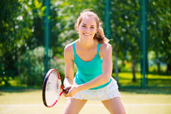 Portrait of a young tennis player Stock Image