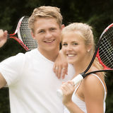 Portrait of young tennis players Stock Photography
