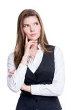 Portrait of the young thinking woman. Stock Photo