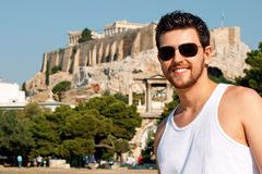 Portrait of a young tourist in Athens, Greece Stock Image