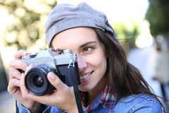 Portrait of young trendy photographers Royalty Free Stock Image