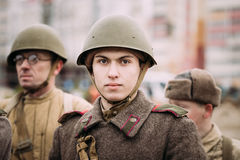 Portrait Of Young Unidentified Re-enactor Dressed As Red Army Russian Soviet Infantry Soldier Of World War II Stock Image
