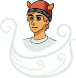Portrait of young viking cartoon character Royalty Free Stock Images