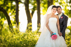 Portrait of a young wedding couple Stock Photo