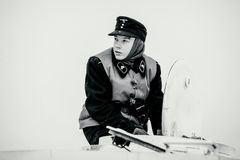 Portrait of young Wehrmacht Panzertruppen soldier of Armoured Troops. Black and white photo. Stock Photography