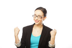 Portrait of young winner woman with glasses Royalty Free Stock Photography