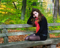 Portrait of young woman. In autumn park Royalty Free Stock Photography