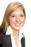 Portrait young woman. Young handsome charming blond pretty business woman Royalty Free Stock Images
