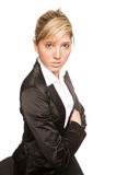 Portrait young woman. Young handsome charming blond pretty business woman Royalty Free Stock Photos