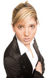 Portrait young woman. Young handsome charming blond pretty business woman Stock Photo