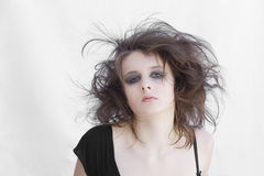 Portrait of young woman. Portrait of a young crazy girl Royalty Free Stock Photo
