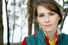 Portrait of young woman. Portrait of pretty young woman with thoughtful expression Stock Image