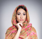Portrait of a young woman in Arabic clothes Stock Images