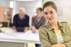 Portrait of young woman architect at office Stock Photos