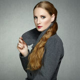 Portrait of young woman in autumn coat Royalty Free Stock Photos