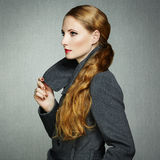 Portrait of young woman in autumn coat Royalty Free Stock Photography