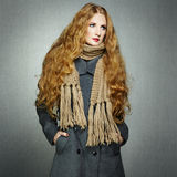 Portrait of young woman in autumn coat Stock Images