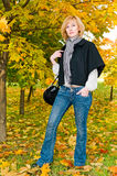 Portrait of young woman in autumn forest Stock Images