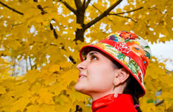 Portrait of young woman in autumn forest Stock Photos
