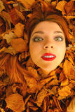 Portrait of young woman in autumn leaves. Stock Photos