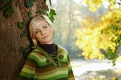 Portrait of young woman in autumn park Stock Images