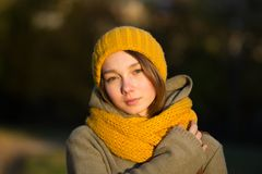 Portrait of young woman in autumn park stock image