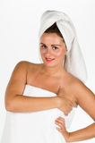 Portrait of young woman after bath Stock Photos