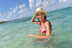 Portrait of young woman bathing in sea Royalty Free Stock Photo