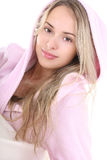 Portrait of young woman in bathrobe Stock Image