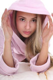 Portrait of young woman in bathrobe Royalty Free Stock Image