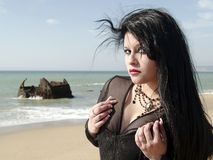 Portrait of young woman at beach Royalty Free Stock Image