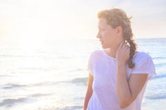 Portrait of young woman at the beach Royalty Free Stock Image