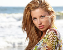 Portrait young woman on beach Royalty Free Stock Image