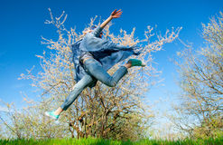 Portrait of the young woman. Portrait of the beautiful young woman jumping in the park Royalty Free Stock Image