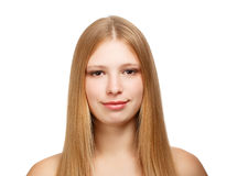 Portrait of young woman. Young beautiful woman with long blond hair isolated on white background. Close-up Stock Photos
