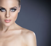 Portrait of a young woman in a beautiful makeup Royalty Free Stock Photos