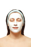 Portrait of a young woman with beauty mask on royalty free stock photos