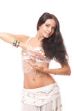 Portrait young woman belly dancer in white costume Royalty Free Stock Photos