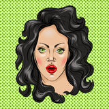 Portrait of a young woman with black hair. Vector illustration, hand drawing Royalty Free Stock Photo