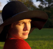 Portrait of young woman in black hat. Frankfurt am Main Royalty Free Stock Images