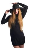 Portrait of a young woman in black hat stock photography