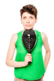 Portrait of a young woman with a black mask in his hand Royalty Free Stock Photography