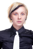 Portrait of a young woman in black shirt. On white Stock Image